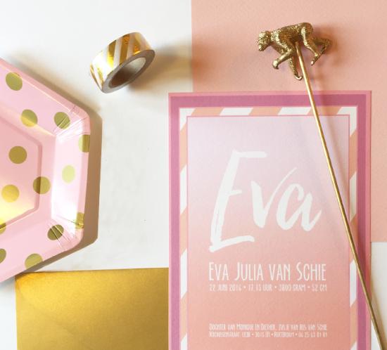geboortekaartje roze tinten met accessoires