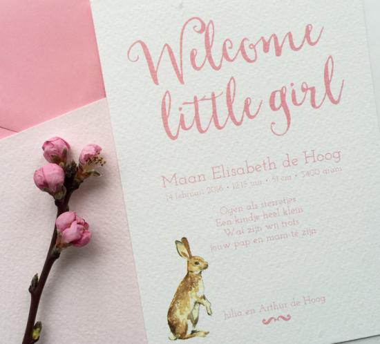 10x15 geboortekaartje roze met afbeelding van haas