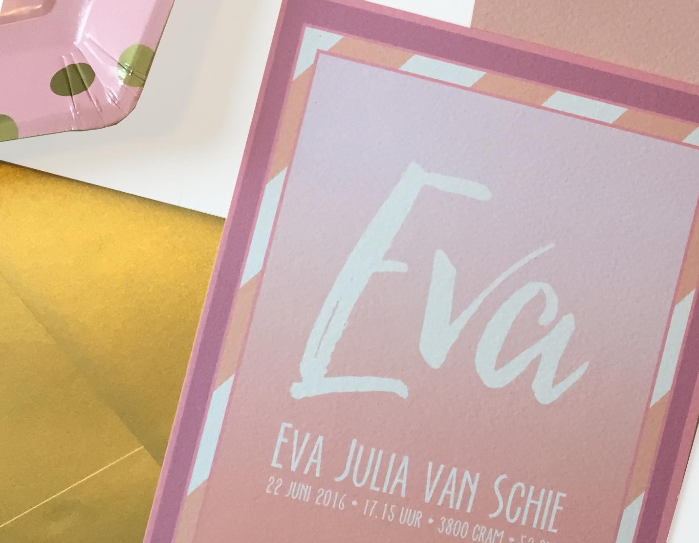 A5 staand kaartje met streepjes in roze tinten